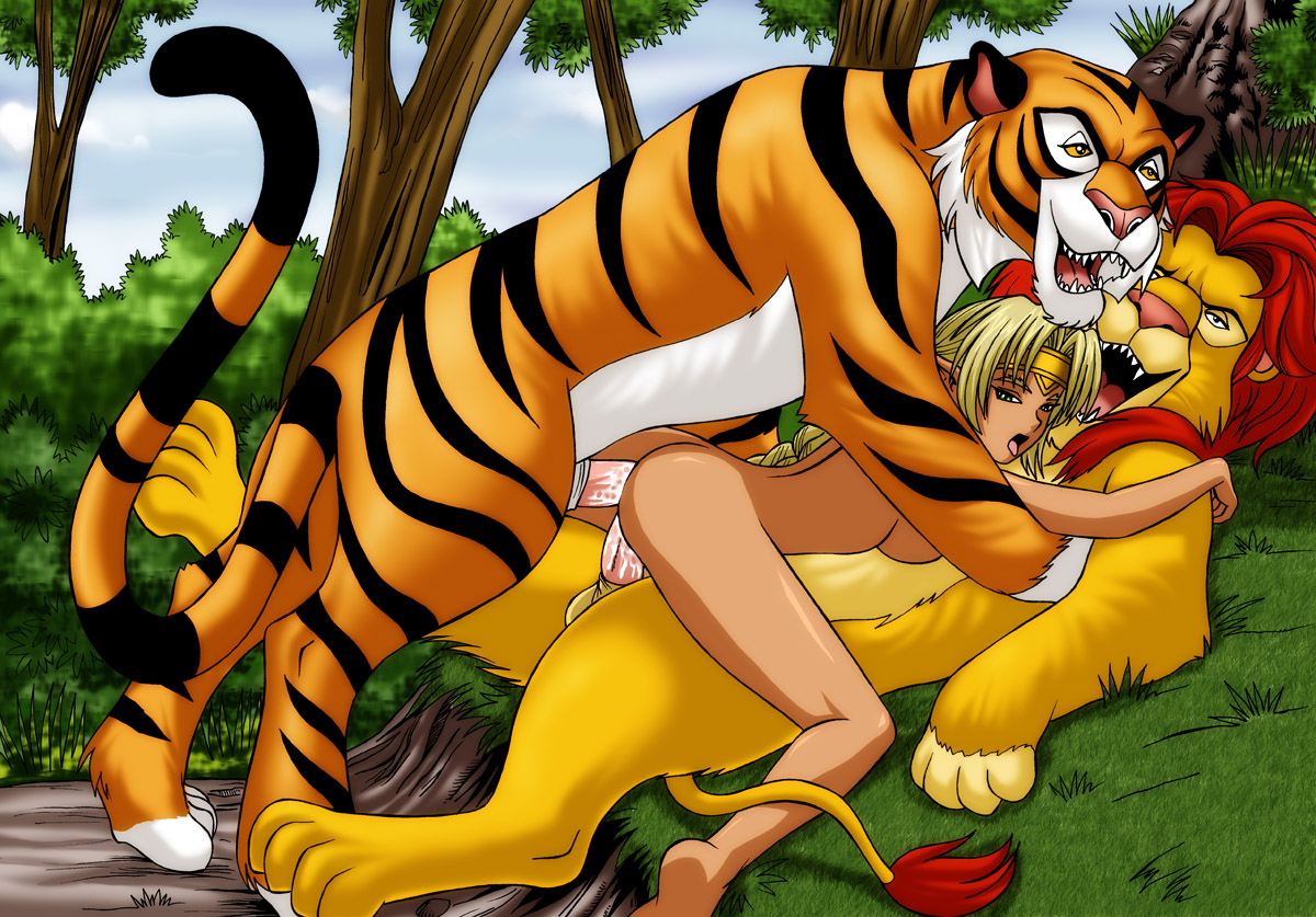 White tiger bonks a naked whore in the wild